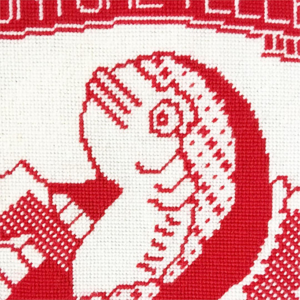 Fortune Teller Fish Needlepoint Design in Red and White by The Makers Marks