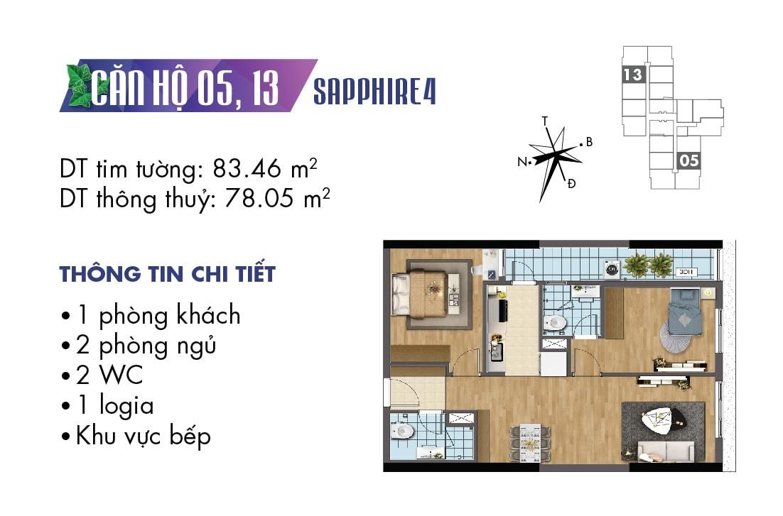 Mặt bằng căn hộ 05 và 13 tòa Sapphire 4