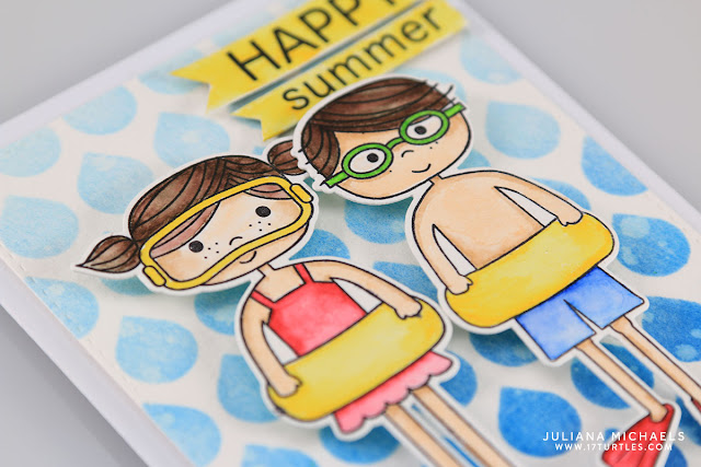 Happy Summer Happy Swimmers Card by Juliana Michaels featuring Simon Says Stamps Happy Swimmer Stamps and Dies and Zig Clean Color Real Brush Markers