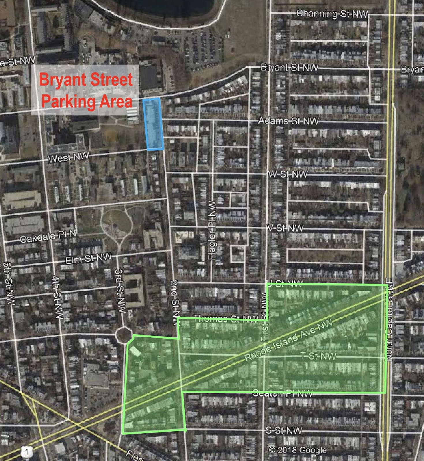 bloomingdale: see the map of the DC Water Bryant Street parking area on