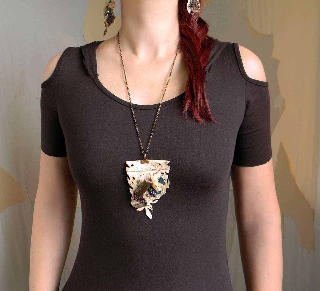 Rustic Eco Chic Necklace with Creamy Leather Pendant, Copper Charm and Embroidery Applique