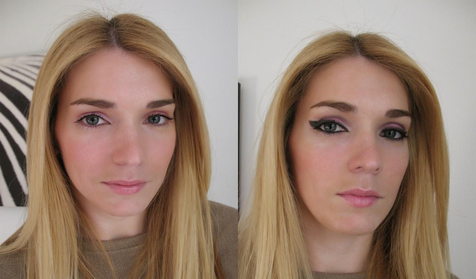 Maquilhagem de noite - adaptação a partir da maquilhagem natural - escolha da cliente - antes e depois