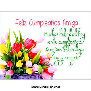 Feliz Cumpleaños Amiga Felicitaciones Imagen de canasto de tulipanes y flores