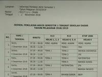 Jadwal Penilaian AKhir Semester 1 SDN Ratujaya 1 Tahun Pelajaran 2018/2019
