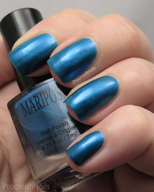 Swatch of Dollarama Mariposa Blue Shimmer Nail Polish