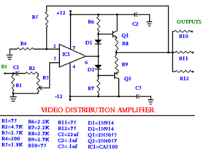 Video distribution amplifier electronic circuit video distribution amplifier ccuart Choice Image