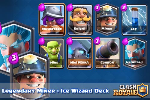 Strategi Deck Miner Ice Wizard Arena 6 Clash Royale