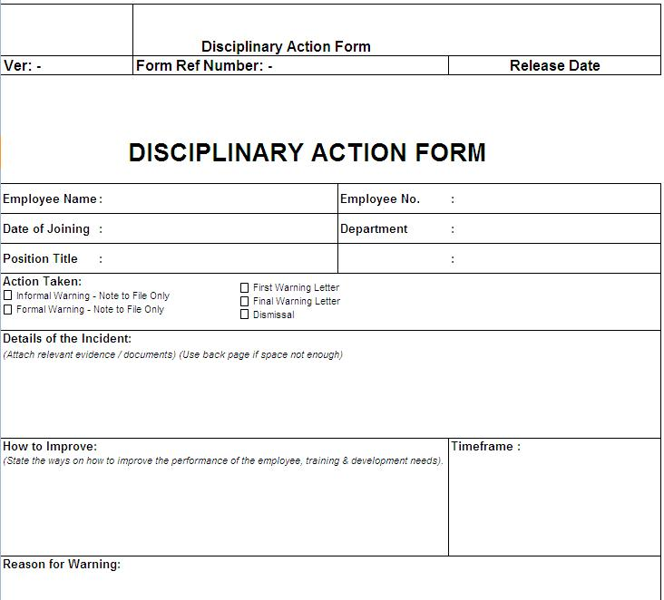 Disciplinary action form free download for Progressive discipline template