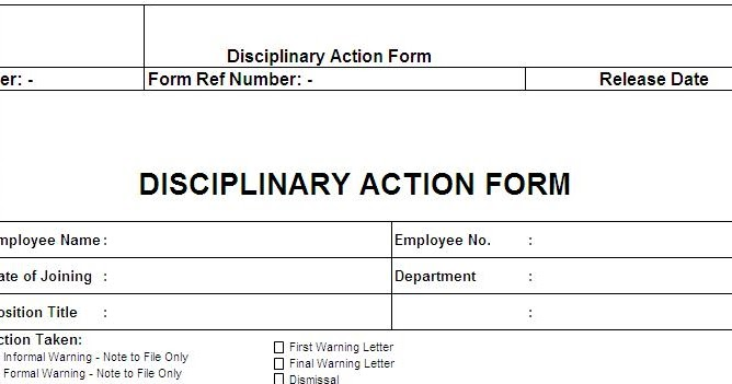 employee disciplinary action template