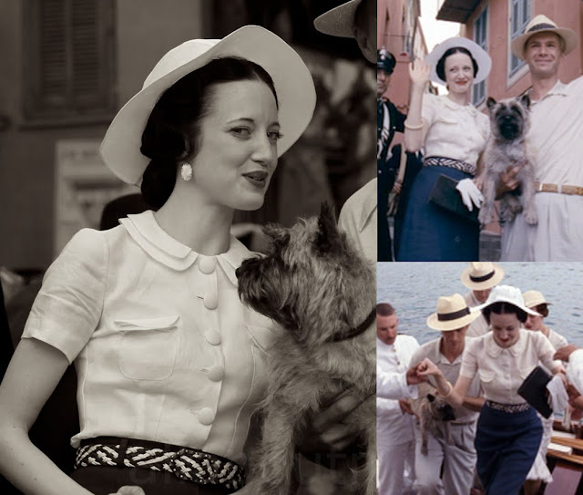 Fabulous Film Fashions W.E.  - Wallis - White Blouse & Blue Skirt