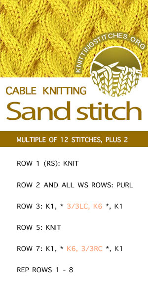#KnittingStitches -- Sand Stitch Pattern. FREE written instructions. #knitting #knit #stitchpattern