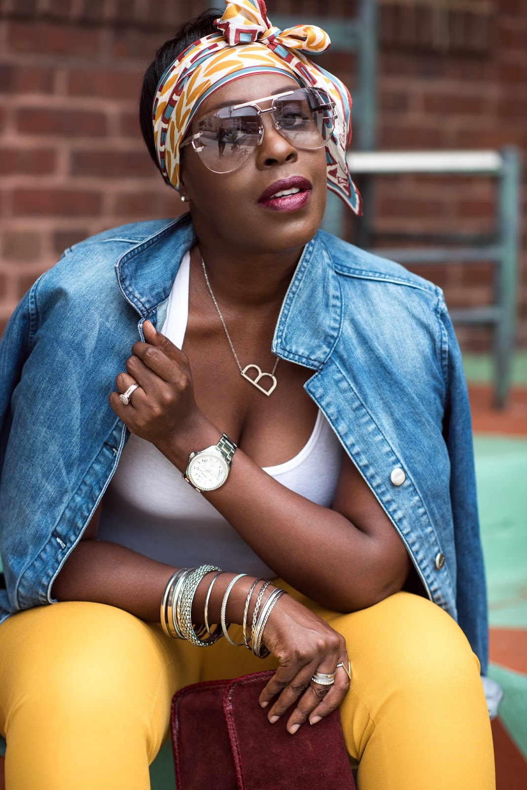 Denim Jacket, White Tank Top, Yellow Pants, Best Black Fashion Blogger