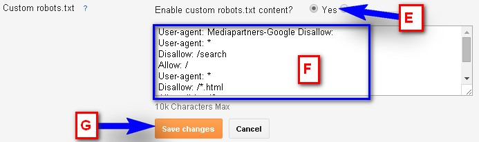 Enable Custom Robots.txt Content In Blogger: