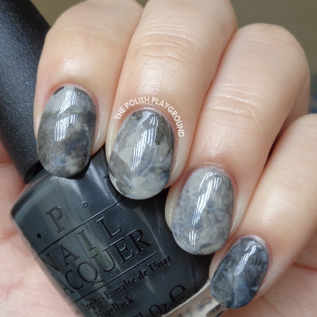 Grey Stamping Marble Nail Art