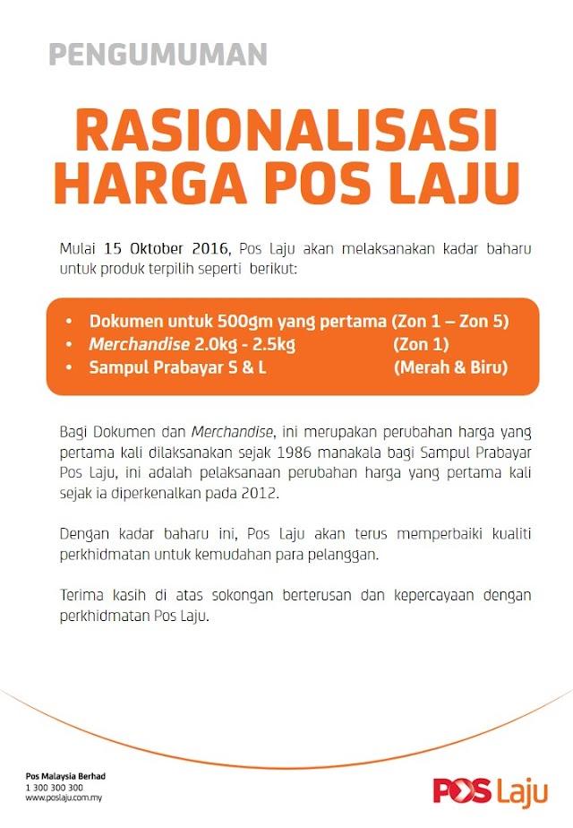 Kos Pos Laju Naik Harga Mulai 15 Oktober 2016!