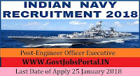 Indian Navy Recruitment 2018 – 108 Engineer Officer Executive & Technical Branch