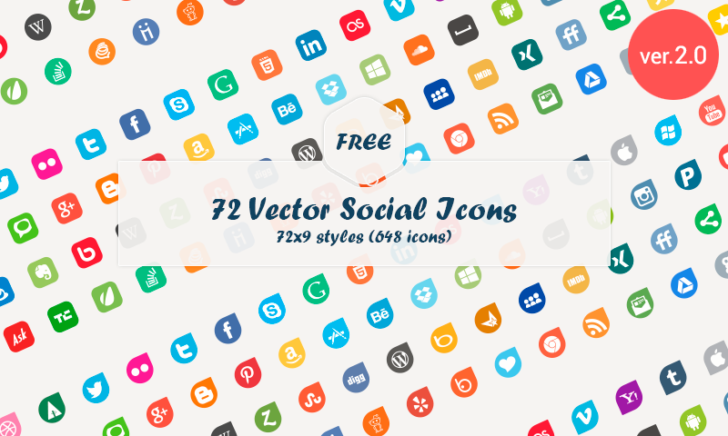 72 Social Media Vector Icons