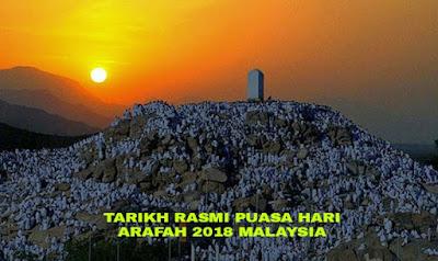 Tarikh Rasmi dan Lafaz Niat Puasa Sunat Hari Arafah 2018 di Malaysia