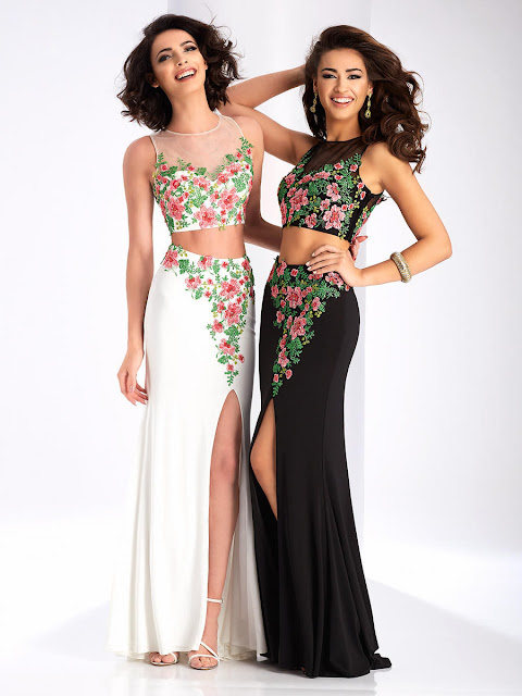 Floral Embroidery Two Pieces Split Front Jersey Prom Dress