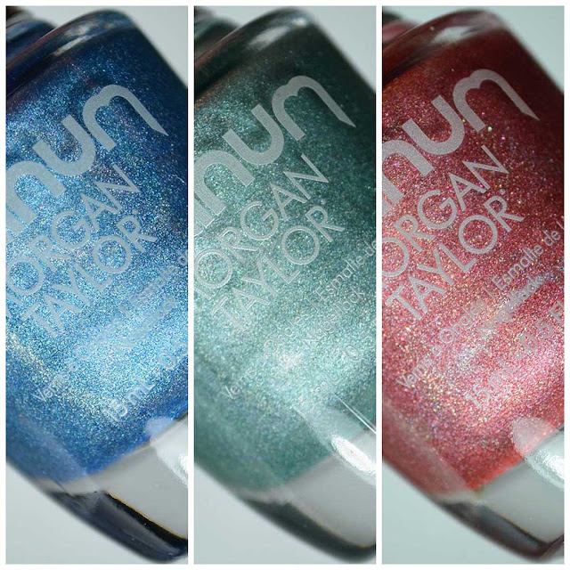 blue green red holographic nail polish