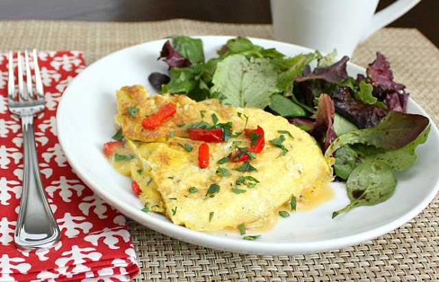 roasted red pepper omelette