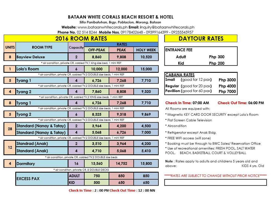 Bataan Beach Resort Room Rates