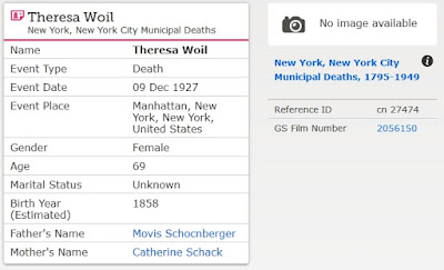 """""""New York, New York City Municipal Deaths, 1795-1949,"""" database, FamilySearch (https://familysearch.org/ark:/61903/1:1:2W1T-1FG : 10 February 2018), Theresa Woil, 09 Dec 1927; citing Death, Manhattan, New York, New York, United States, New York Municipal Archives, New York; FHL microfilm 2,056,150."""