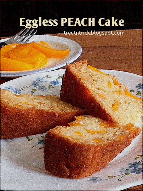 Eggless Peach Cake Recipe @ http://treatntrick.blogspot.com
