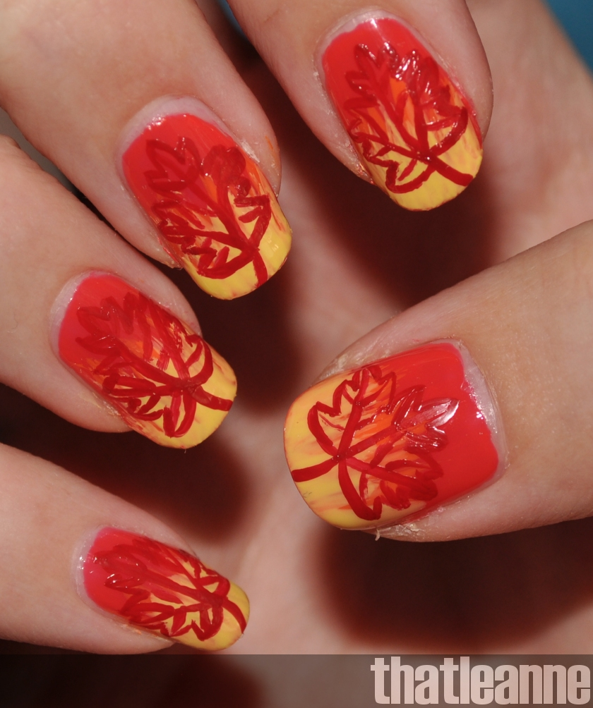 Prettyfulz Fall Nail Art Design 2011: Thatleanne: Firey Autumn Leaves Nail Art