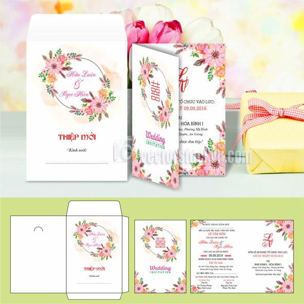 Thiệp cưới hoa mỹ thuật