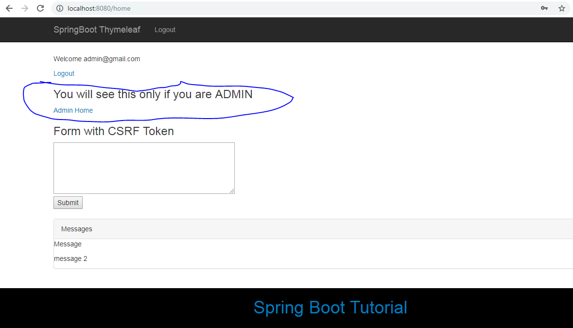 Spring Boot + Spring MVC + Role Based Spring Security + JPA +