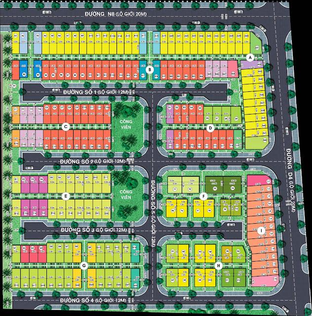 Mặt bằng phân lô đất nền dự án Jamona City quận 7.