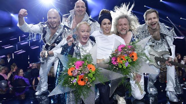 Mariette y Rolandz tras ganar la cuarta semifinal del Melodifestivalen 2018