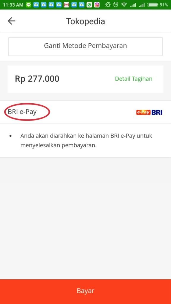 pembayaran Tokopedia BRI epay