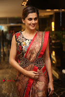Tapsee Pannu Latest Stills in Red Silk Saree at Anando hma Pre Release Event .COM 0069.JPG