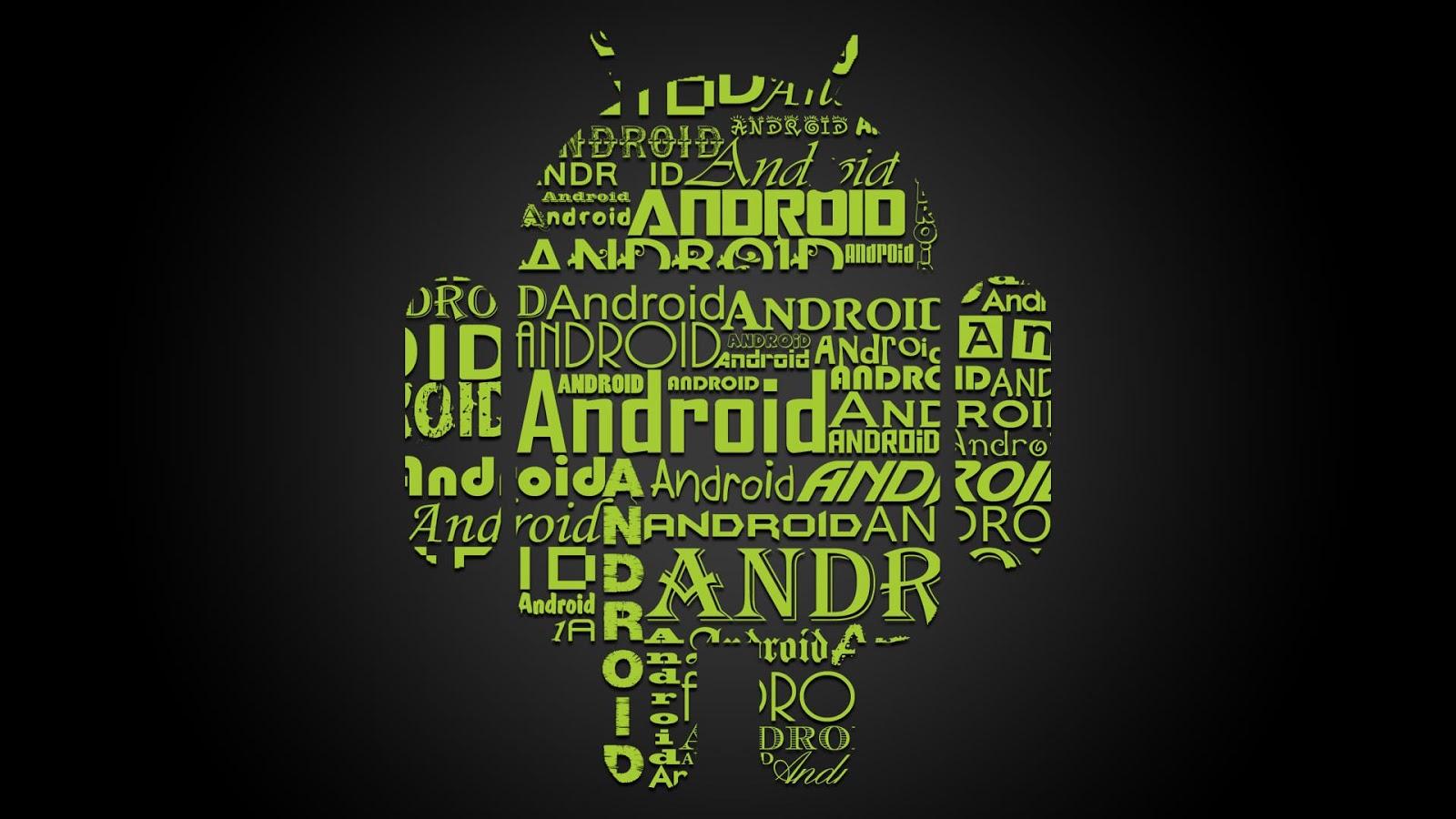 Android Teks Design Logo Black and Green Color
