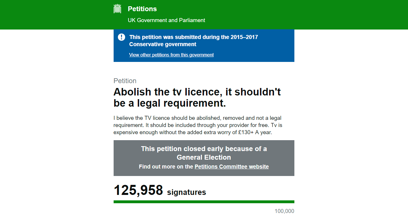 Image result for bbc license fee petition