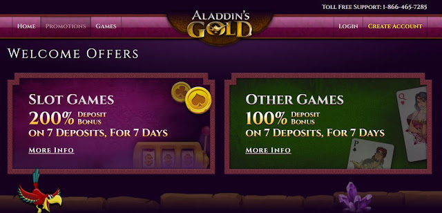 Aladdins Gold casino welcome bonuses