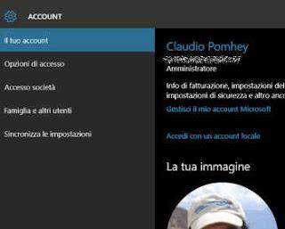 modificare nome password immagine account pc