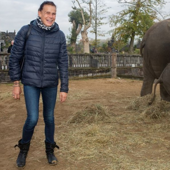 "Princess Stephanie of Monaco became the godmother of the baby elephant ""Ta Wan"" at Pairi Daiza, Belgium"