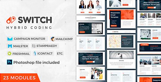 Switch: Newsletter para empresas y negocios, con módulos sencillos para añadir