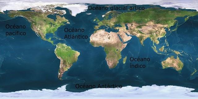 Nomes dos Oceanos e Mares