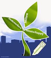 Plant met als bladen, medewerkers, milieu en maatschappij, waar een thermometer in staat