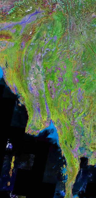 Gambar Peta wilayah negara Burma tampak dari satelit
