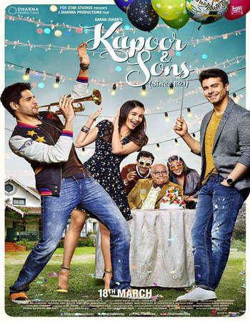 Poster Of Kapoor and Sons 2016 Hindi 700MB pDVD x264 Free Download Watch Online