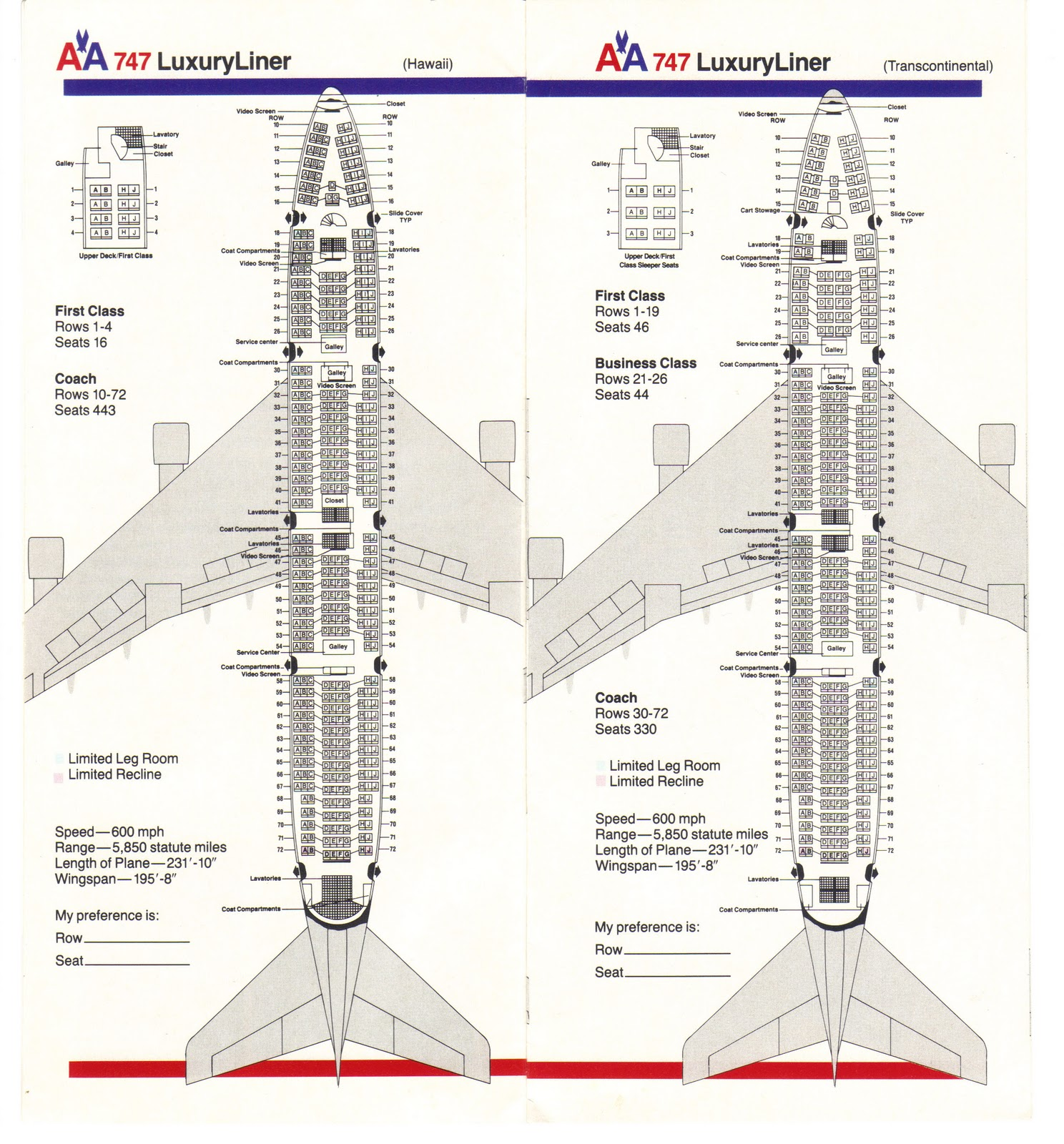 American Airlines Boeing 747 Seating Guide Map