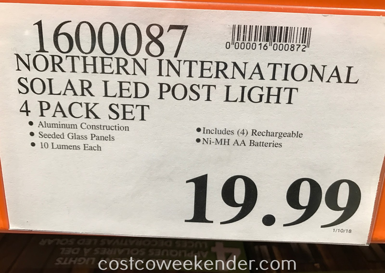Deal for the Paradise Northern International Solar LED Accent Post Lights at Costco