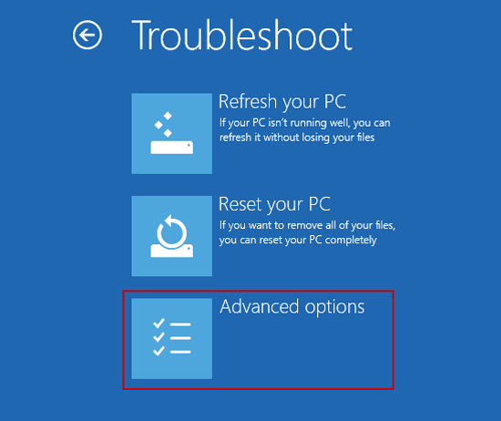 choose advanced options in windows 10 troubleshoot