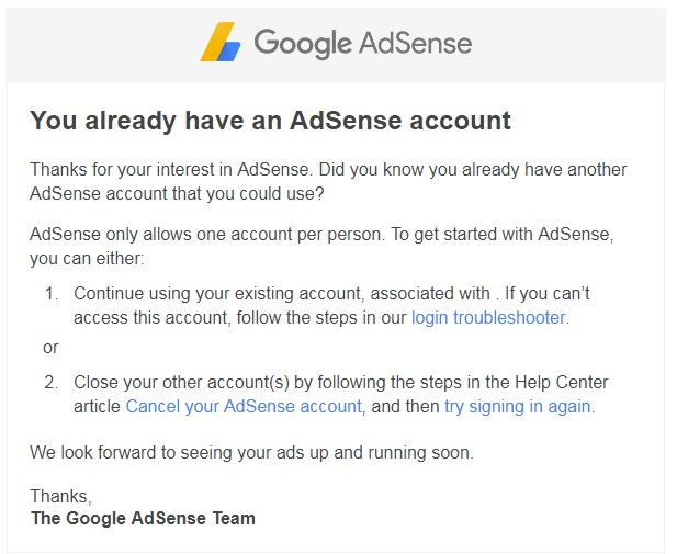 mail from Google Adsense.