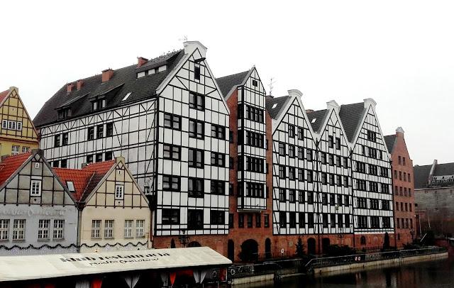Amazing buildings in Gdansk, in winter